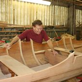 Fitting stretcher boards to a traditional Thames double racing skiff.